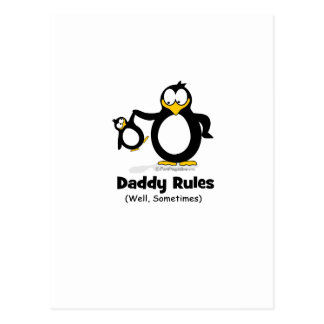 Daddy Rules Penguin Postcard