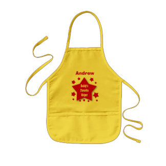 Daddy s Favorite Helper Custom Name RED GOLD V04 Aprons