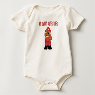 Daddy Saves Lives Firefighter Baby Bodysuit