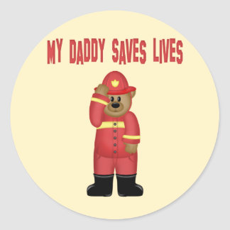 Daddy Saves Lives Firefighter Classic Round Sticker