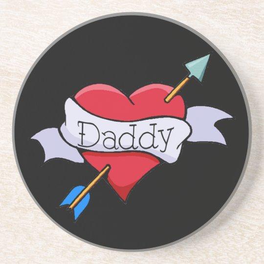 Daddy Tat Heart Coaster