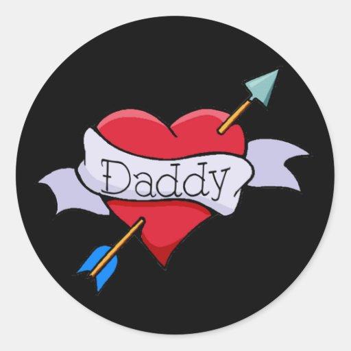 Daddy Tat Heart Sticker
