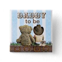 Daddy To Be Lil' Cowboy and Teddy Bear Baby Shower Button