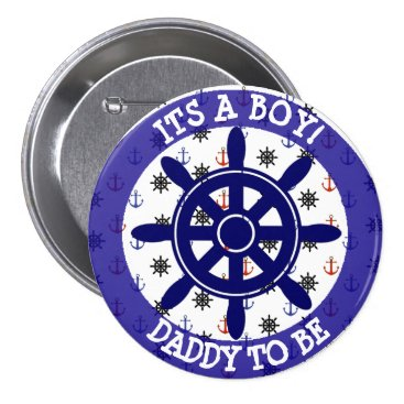 Beach Themed Daddy to be, Nautical Baby Shower button