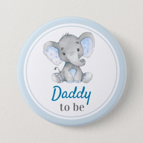 Daddy to be New Dad Baby Boy Shower Elephant Blue Button