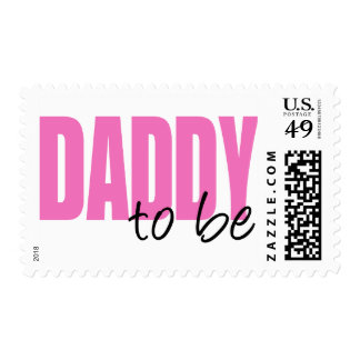 Daddy To Be (Pink Block Font) Postage Stamps