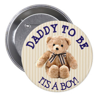 Daddy to be, Teddy Bear Baby Shower Button
