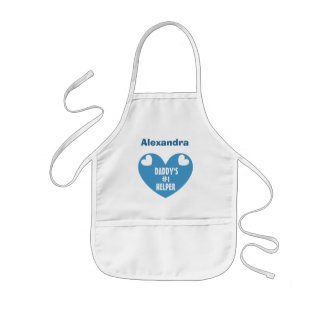 Daddy's #1 Helper With Name BLUE Heart V07 Kids' Apron