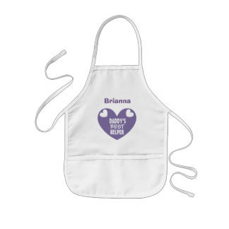 Daddy's BEST Helper With Name PURPLE Heart V06 Kids' Apron