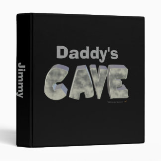 Daddy's Cave Custom Name Stone Look 3 Ring Binder
