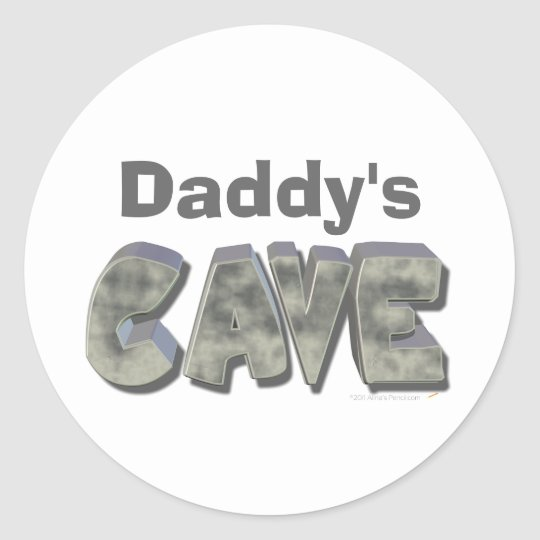 Daddy's Cave Custom Name Stone Look Classic Round Sticker