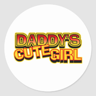 Daddy's Cute Girl Classic Round Sticker