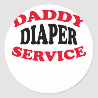 Daddy's Diaper Service Tshirt J.png Classic Round Sticker