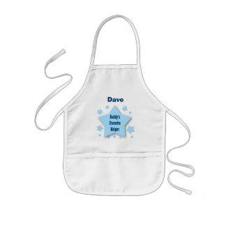 Daddy's Favorite Helper Custom Name BLUE STARS 3 Kids' Apron