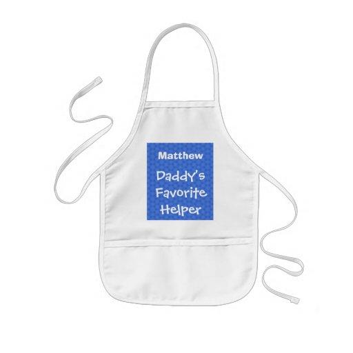 Daddy's Favorite Helper Custom Name Blue W1551 Aprons