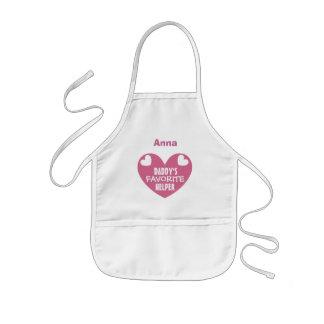Daddy's Favorite Helper Custom Name PINK Heart V02 Kids' Apron