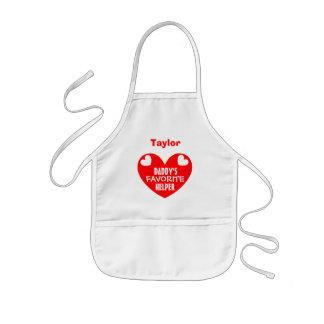 Daddy's Favorite Helper Custom Name RED Heart V01 Kids' Apron