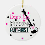 Daddys Future Guitarist Double-Sided Ceramic Round Christmas Ornament