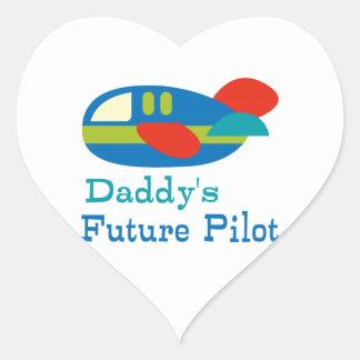 Daddy's Future Pilot Heart Sticker