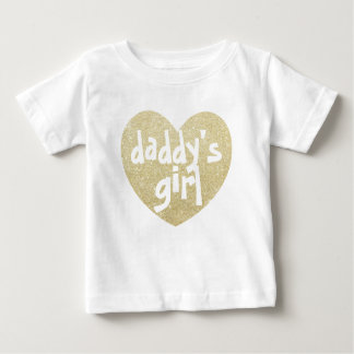 Daddy's Girl Glitter-Print heart Golden Baby T-Shirt