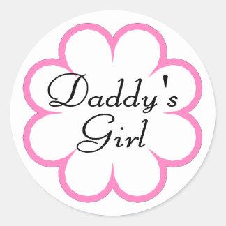 Daddys Girl In Flower Classic Round Sticker