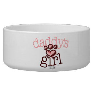 Daddy's Girl Pink Paw Print Heart Dog Water Bowl
