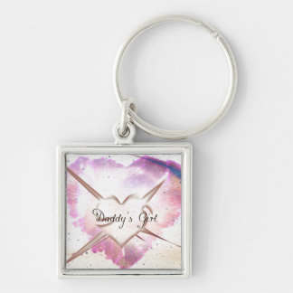 Daddy's Girl Splash Silver-Colored Square Keychain