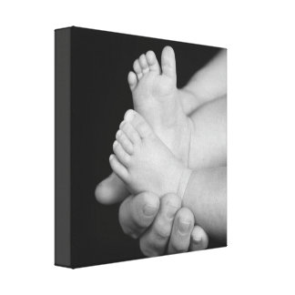 Daddys Hands Black and White Baby Feet Canvas
