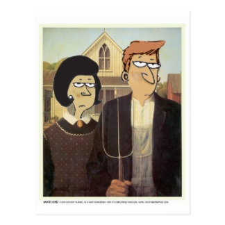 Daddy's Home American Gothic Postcard