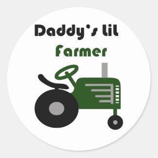 Daddy's Lil Farmer Round Sticker
