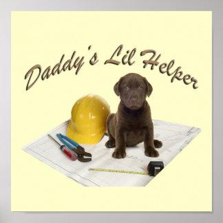 Daddy's Lil Helper Choc Lab Poster