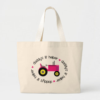 Daddy's Lil Helper Tractor Girl Large Tote Bag