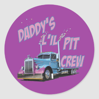 Daddy's L'il Pit Crew Classic Round Sticker