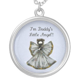 Daddy's Little Angel Round Pendant Necklace