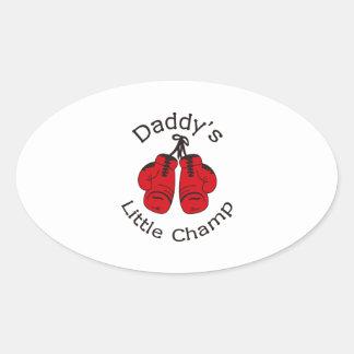 DADDYS LITTLE CHAMP OVAL STICKER