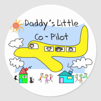 Daddy's Little Co-Pilot Kids T-Shirts Classic Round Sticker