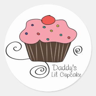 Daddy's Little Cupcake Classic Round Sticker