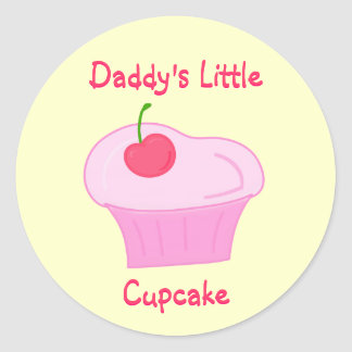 Daddy's Little Cupcake -Cute Pink Cake with Cherry Classic Round Sticker