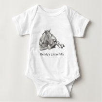 Daddy's Little Filly: Pencil Drawing of Baby Horse Baby Bodysuit