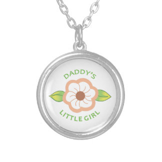 DADDYS LITTLE GIRL APPLIQUE ROUND PENDANT NECKLACE
