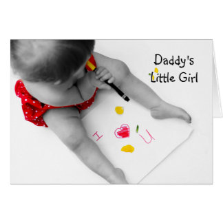 Daddy's Little Girl I Love You Dad With Red Heart Card