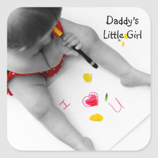 Daddys Little Girl I Love You Dad With Red Heart Square Sticker