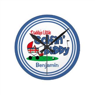 Daddy's Little Golfin' Buddy Round Clock