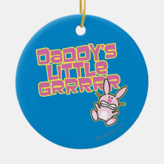 Daddy's Little Grrrrr Double-Sided Ceramic Round Christmas Ornament