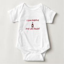 DADDY'S LITTLE KETCHUP BABY SILLY FUN CUTE BABY BODYSUIT