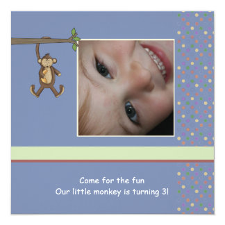Daddy's Little Monkey Photo Birthday Party Invitat Card