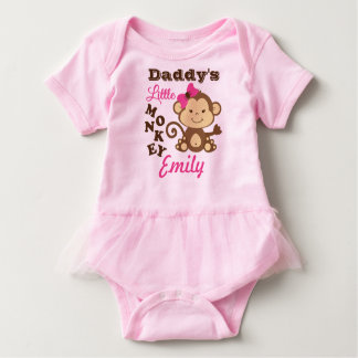 Daddy's Little Monkey Pink Bodysuit with Tutu