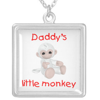 Daddy's Little Monkey (red) Square Pendant Necklace