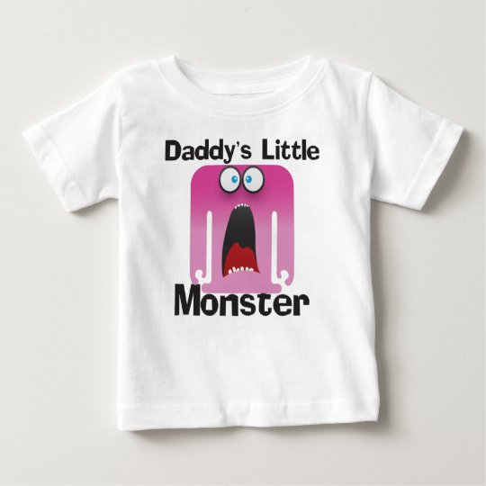 Daddy's Little Monster Pink Baby T-Shirt