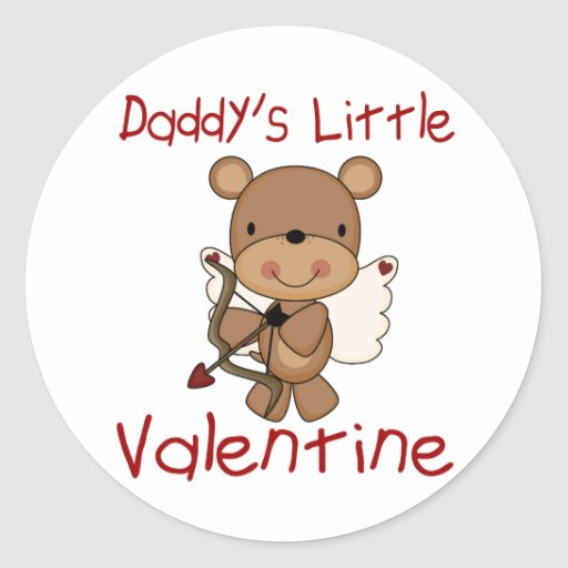 Daddy's Little Valentine Classic Round Sticker